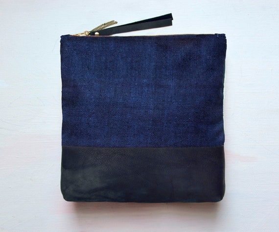 I N D I G O SILK Black Leather Clutch. Navy Blue and Black Clutch. Large Leather Make up Bag.