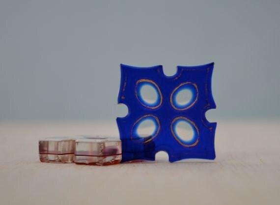 Bohemian Blue Glass Thread Winder