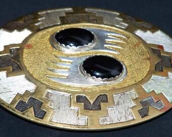 Bear Claw Design Oval Brass Belt Buckle Made in USA