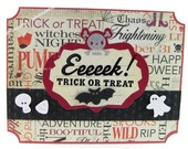 Halloween Holiday Card: Skeleton Ghost Bats
