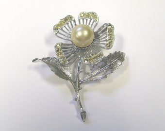 Vintage Faux Pearl & Rhinestone Flower Brooch in Silver tone Metal, Signed Sarah Coventry, Wear or Repurpose