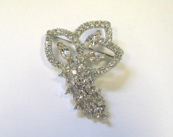 Vintage Crystal Rhinestone Flower Bouquet Brooch in Silver tone metal, Wear or repurpose