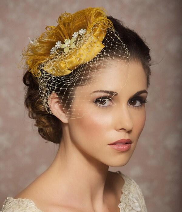 Mustard Yellow Bridal Hat Bridal Head Piece Fascinator