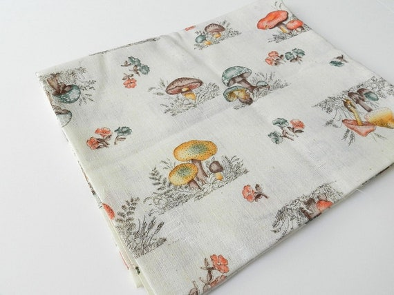 Vintage Mushroom Shrooms Theme Linen Blend Fabric L shaped piece 1 yard plus