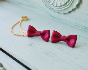 Ruby Satin Bows Gold Chain Ear Cuff Earrings (Pair)