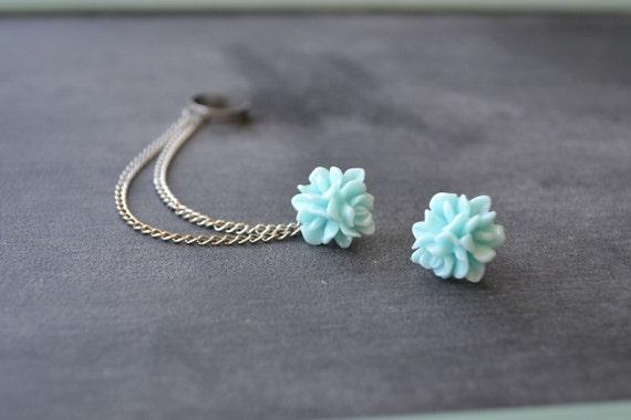 Sweet Blue Bloom Silver Double Chain Cartilage Earring Ear Cuff (Pair)
