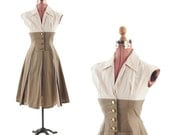 RESERVED FOR: Vela Vintage 1950's Taupe Fall Atomic Colorblock Full Skirt Party Dress S