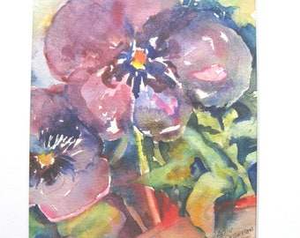 Original Watercolor Painting  Pansy 11x14 matted  Flower  Carlottasart