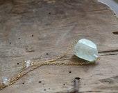 Green Aquamarine and Gold Necklace
