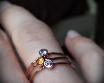 MOTHER'S DAY, 3 Hammered Birthstone Stack Rings with 14k Gold set Faceted Gemstones
