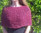 """Dark Red Knitted Capelet - 32"""" to 36"""" Bust"""