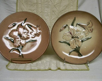 Vintage Lily Plates Decorative Raised Flower Design Signed Just Reduced Pair
