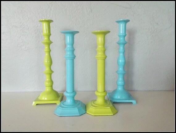 Set of 4 Upcycled Vintage Brass Candle Holders - Large Candle Holders - Coastal Chic - Beach Cottage - Upcycled Wedding Centerpiece