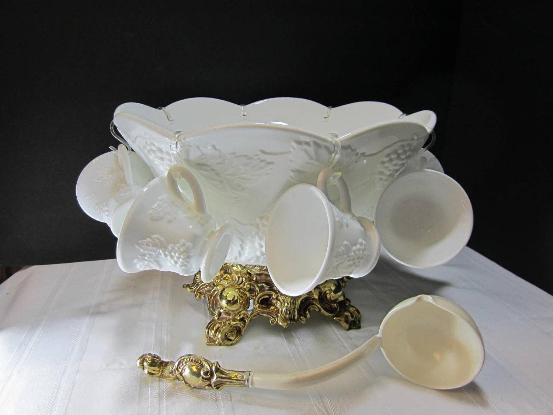 30 Piece White Milk Glass Punch Bowl Set