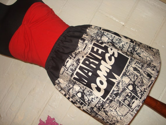 OOAK Large Marvel Logo Mini Skirt -  Neutral and Black  High Waisted Ladies Skirt - Handmade and Ready to Ship