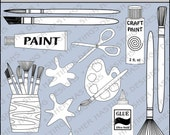 Crafting Fun Digital Stamp - Black and White Clipart - Digital Scrapbooking, Crafting Clipart