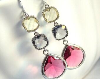Fuschia Earrings, Fuchsia Earrings, Gray, Grey, Yellow, Glass, Long, Silver, Bridesmaid Jewelry, Bridesmaid Earrings, Bridesmaid Gifts