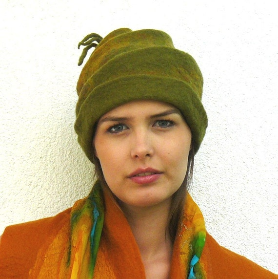 Felt Hat Handmade Merino wool - green
