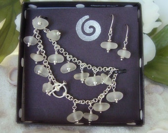 Seaglass Jewelry Bracelet and Earrings Set - White Hawaiian Sea Glass - Genuine Sea Glass Jewelry Set