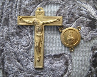 Vintage Brass Rosary  Set--Crucifix and Saint Augustine Rosary Center