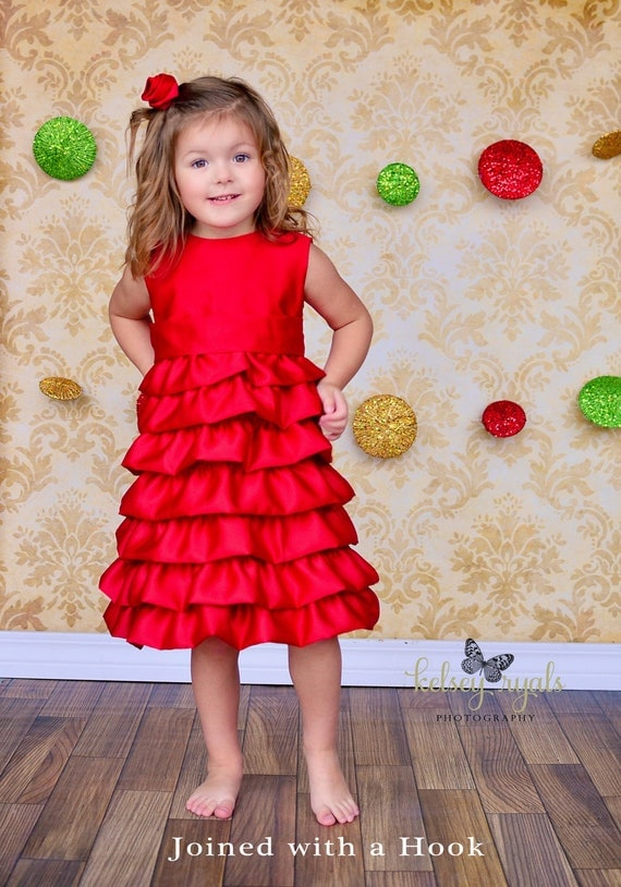 Items similar to Free Shipping in the U.S. Baby, toddler or girls Satin Christmas/Holiday Dress ...
