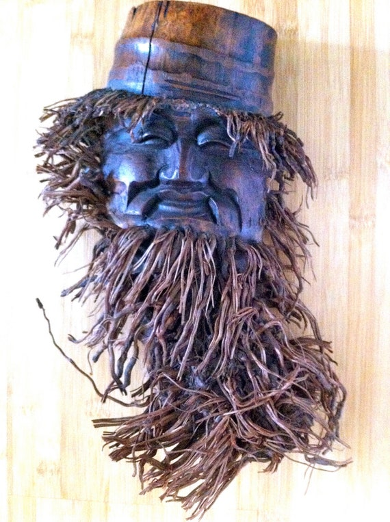 Chinese Immortal Bamboo Root Mask Wall Decor