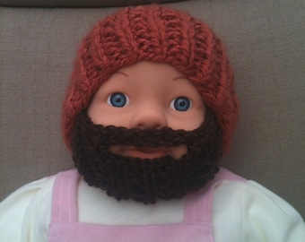 Baby Bearded Beanie - Copper Orange Hat W/ Soft Dark Brown Beard. 6-12 Months