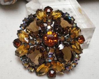 2 1/8 Large Dome Amber AB Rhinestone Brooch Gorgeous Vintage