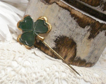 Clover Tin Hat Pin Vintage