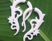 KAVITA Earrings - Natural White Bone Fake Gauges - Hand Carved Flowers