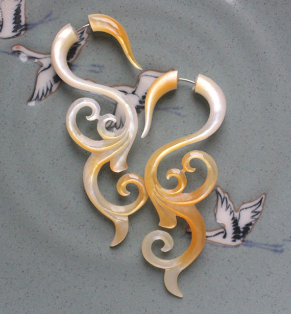 Mother of Pearl Fake Gauges - Long Hand Carved Tribal Earrings - MAI - Swirls and Curls - Natural and Ethnic