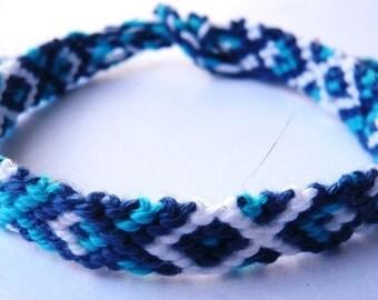 friendshipbracelet extra long, blue colours, 100% coton