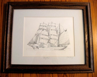 US COAST GUARD Barque Eagle-- Framed Pen and Ink portrait- Hand Signed by Artist