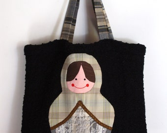 Handmade matrioska tote bag