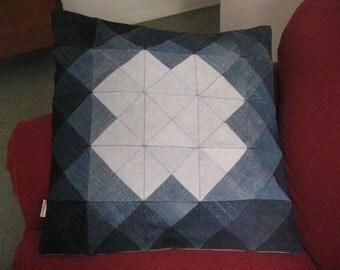 Patchwork geometric denim cushion cover