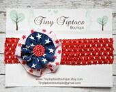 Baby Headband - 4th of July Ribbon Yo yo Flower Red Button on Red Crochet Headband Ready to Ship