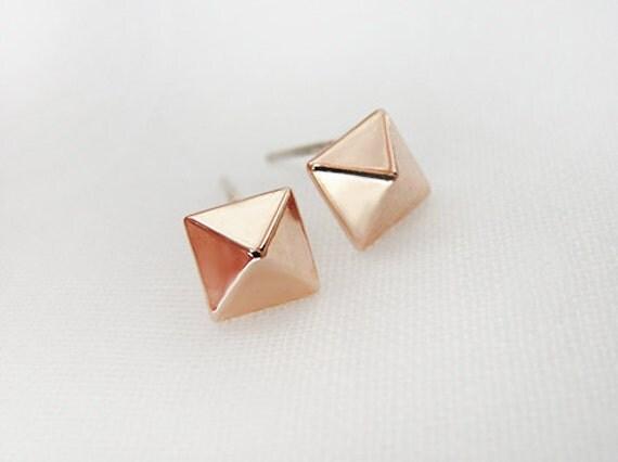 Rose gold pyramid stud earrings - square stud earrings