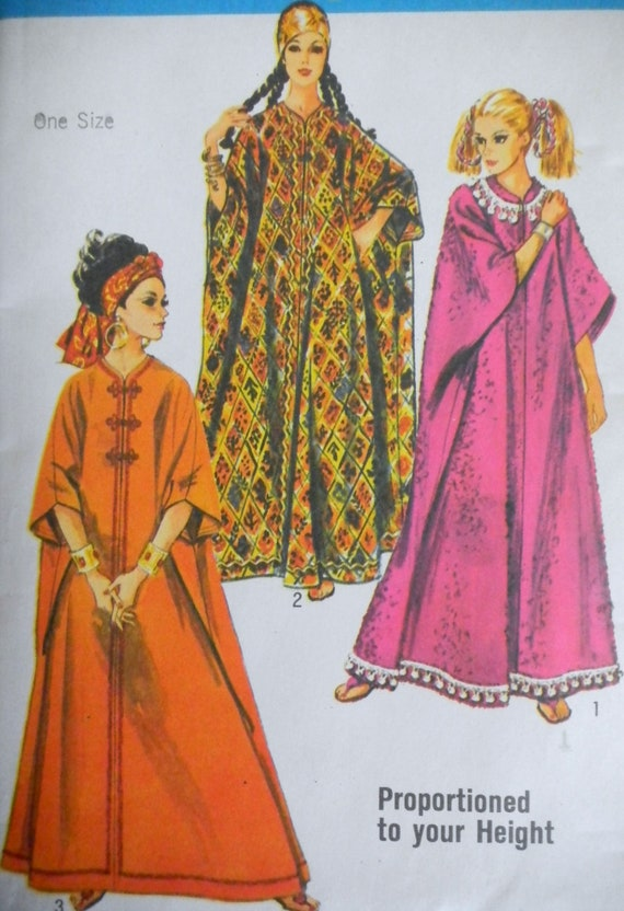 Vintage 1960s Caftan Pattern-One Size Simplicity Pattern 8354 Factory Folded