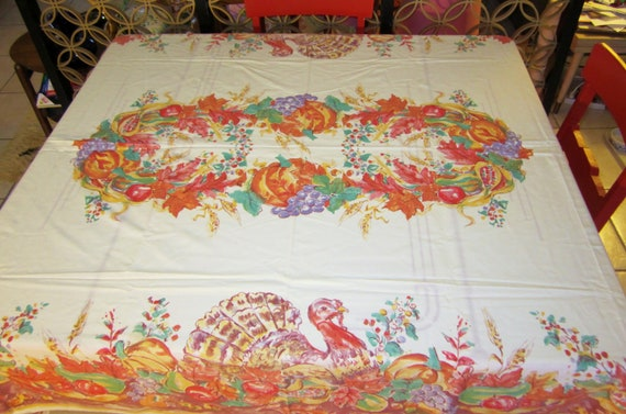 Vintage Thanksgiving Autumn Harvest Tablecloth-Cotton-84