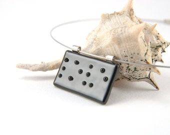 Braille LOVE fused glass pendant necklace, black letters on black, customizable