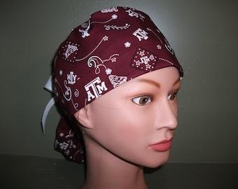 Ponytail scrub cap cap Texas A&M