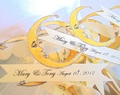 Crescent Moon Wedding Favor - Set of 6 - Customized Banner - Silver