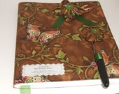 Brown and Green Butterfly Flower composition notebook journal wih matching flower fountain pen.