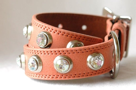Leather Dog Collar Leather In A Peach Orange Color With