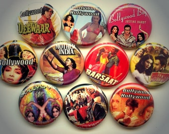 "BOLLYWOOD Hindi film 10 Pinback 1"" Buttons Badges Pins"