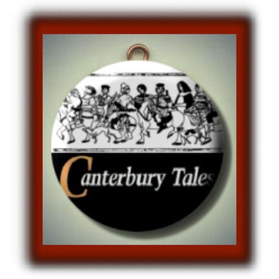 CANTERBURY TALES Chaucer Altered Art Charm Pendant with Rhinestone