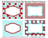 NEW INSTANT DOWNLOAD The Reindeer Games Blue and Red Christmas Party Collection printable Party Labels