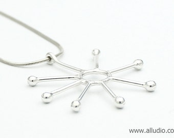 ATOMIC retro sterling silver star flower necklace & pendant