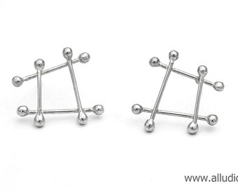 ATOMIC retro sterling silver square & dots earring stud / post