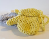 Crochet Baby Mittens COTTON- Pick Your Color -  Organic Cotton Available -   Mittens With Or Without Thumbs - Mittens With String - Handmade